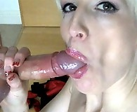 Becs takes a young stud in her mouth and makes him cum twice