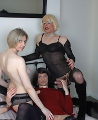 Zoe Fuck Slut has a filthy orgy with a horny blonde and filthy TGirl, and they all just love cock