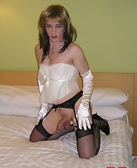Gorgeous crossdresser Kirsty performs with her favourite dildo toy after date night