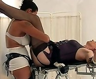 Strapon Jane punishing a blonde crossdresser in her slutty ass