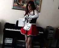 Gorgeous tranny Kirsty wearing a tiny red dress and getting banged hard