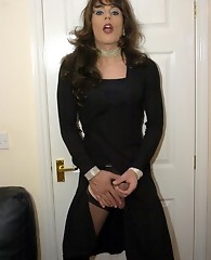 Zoe in a black dress masturbating big cock