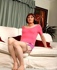 Lucimay in nylon stockings and playing with her cock