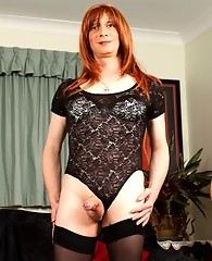 Tgirl Lucimay dressed as a slutty goth for halloween