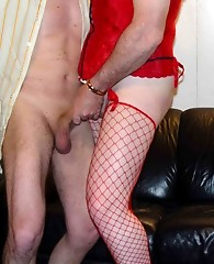 Cross dressing threeway in these hardcore suck and fuck shots