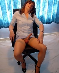Secretary lucimay takes off skirt and bends over office chair