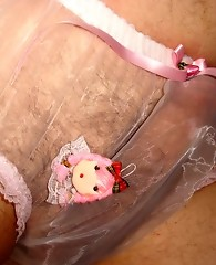 This pantie boys hard cock looks great in see through knickers