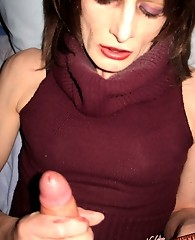 Tranny slut takes Yvettes cock deep into her mouth